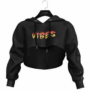 .:villena:. - High Crop Hoodie - Black