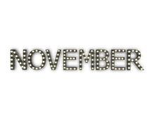 "[Px] ""NOVEMBER"" Illuminated Light Bulbs Sign"