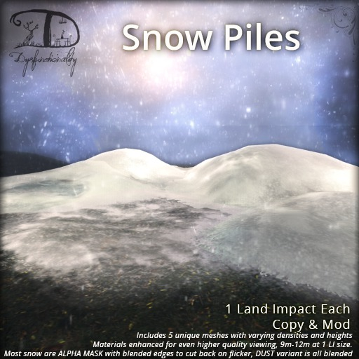 [DDD] Snow Piles Set - 1 LI, 5 Snowdrift Meshes, Easy Clean After Season!