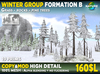 Winter forest formation B - 19 prims MOD COPY Spruce fir - forest pine trees with rocks, grass, fallen trees, ferns