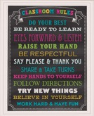 Sign - School - Chalkboard Classroom Rules - Color