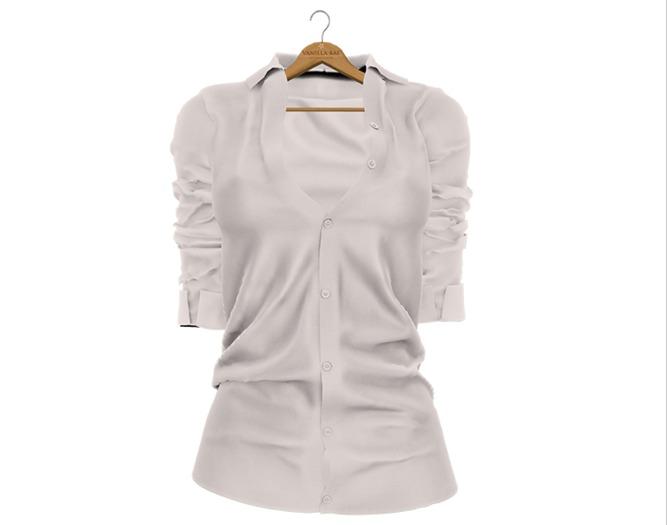 * Vanilla Bae * The Boyfriend Shirt in White / Strip Me / Maitreya, Slink Hourglass, Belleza Freya