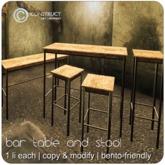 CONSTRUCT - Bar table and stool - 1 li each