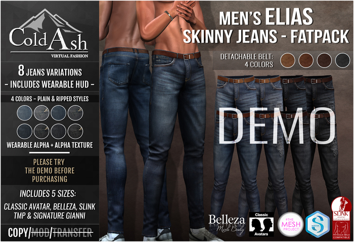 {COLD-ASH} DEMO Mens MESH ELIAS Skinny Jeans