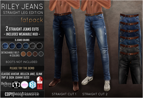 {COLD-ASH} Mens MESH RILEY STRAIGHT JEANS FATPACK
