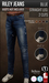 {COLD-ASH} Mens MESH RILEY STRAIGHT JEANS (Blue)