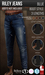 {COLD-ASH} Mens MESH RILEY BOOT-STYLE JEANS (Blue)