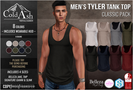 {COLD-ASH} Mens MESH TYLER Tank Top (CLASSIC PACK)