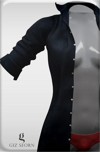"GIZ SEORN - ""Ethan"" Boyfriend Shirt [Dark Blue]"