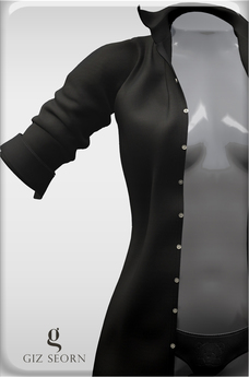 "GIZ SEORN - ""Ethan"" Boyfriend Shirt [Black]"