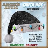AA - Santa Hat w/lights - Black - Transferable