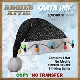 AA - Santa Hat w/lights - Black - Copyable