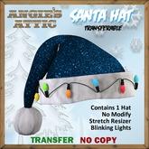 AA - Santa Hat w/lights - Dk Blue - Transferable