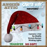 AA - Santa Hat w/lights - Red - Transferable