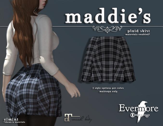 evermore. maddie's // plaid skirt (pewter) - maitreya