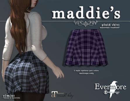 evermore. maddie's // plaid skirt (violet) - maitreya