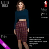 BD-Edita Pencilskirt outfit burgundy navy cropped top sweater dollarbie gift freebie