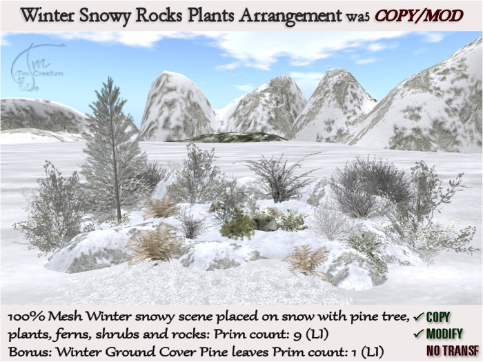 wa5 Winter scene placed on snow with Snowy Rocks Shrubs Pine Tree Plants arrangement+Cover leaves-COPY/MOD