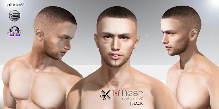 i.mesh - Hairbase#7 BLACK - CATWA/OMEGA/BOM