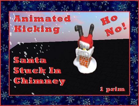 Animated Santa Stuck In Chimney - Ho No!