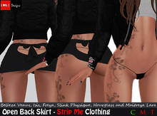 [ RL ] Designs - Strip Me - Open Back Skirt - BLACK