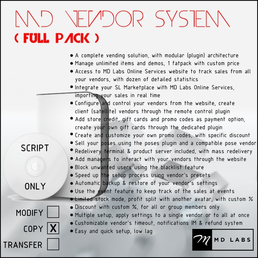 MD Vendor System (Full Pack)
