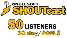 Shoutcast 30 days 50 listeners
