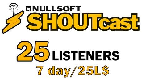 Shoutcast 7 days 25 listeners