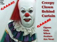 Creepy Clown Behind Curtain - GAAA