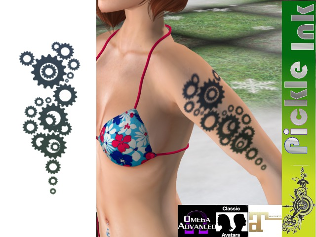 Pickle Ink - Techno Gears Tribal Tattoo
