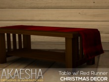 [Akaesha] Table with Red Runner  (( Christmas Decor ))