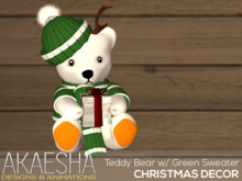 Akaesha Teddy Bear w/ Green Sweater (wear me)