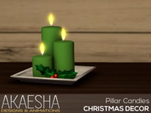 [Akaesha] Pillar Candles on Plate (Cream/Red)