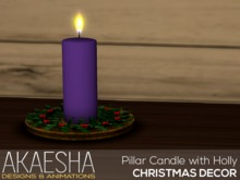 [Akaesha] Christmas Candle with Holly (Purple)
