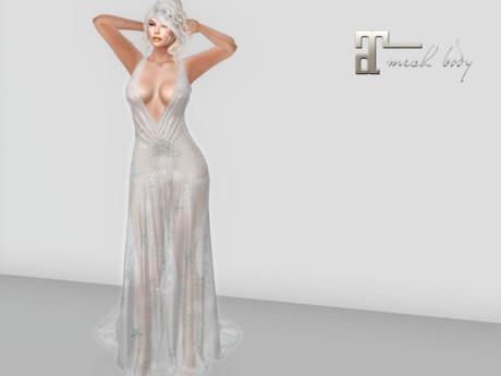 ~PP~ Xmas Gown -  Sheer Silver Snowflake Maitreya