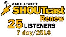Shoutcast 7 days 25 listeners renewal (wear me)