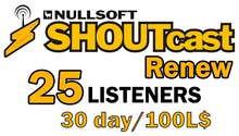 Shoutcast 30 days 25 listeners renewal (wear me)