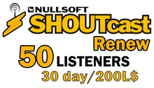 Shoutcast 30 days 50 listeners renewal (wear me)