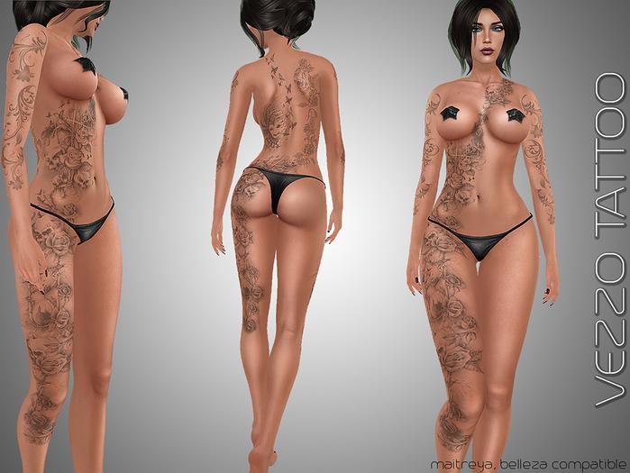 Vezzo Tattoo Roses & Skulls Black and Gray Blue Female for Belleza, Maitreya & Omega Applier