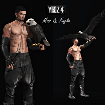 YKZ4.Man & Eagle Static Pose (Props Included)