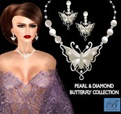 Alyssa Bijoux - Pearl & Diamond Butterfly Necklace & Earrings
