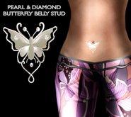 Alyssa Bijoux - Pearl & Diamond Butterfly Belly Stud X