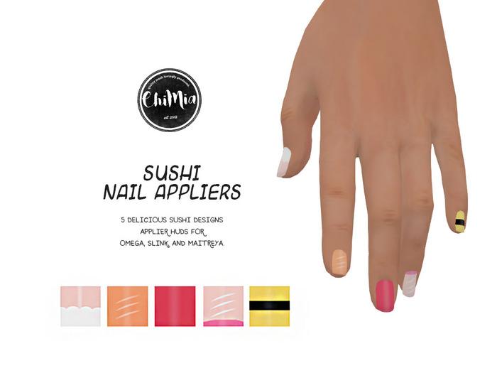 ChiMia:: Sushi Nail Appliers (Maitreya, Omega, Slink)