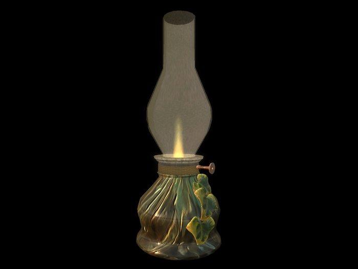 Paladin's Bedside Oil Lamp - Glass vined