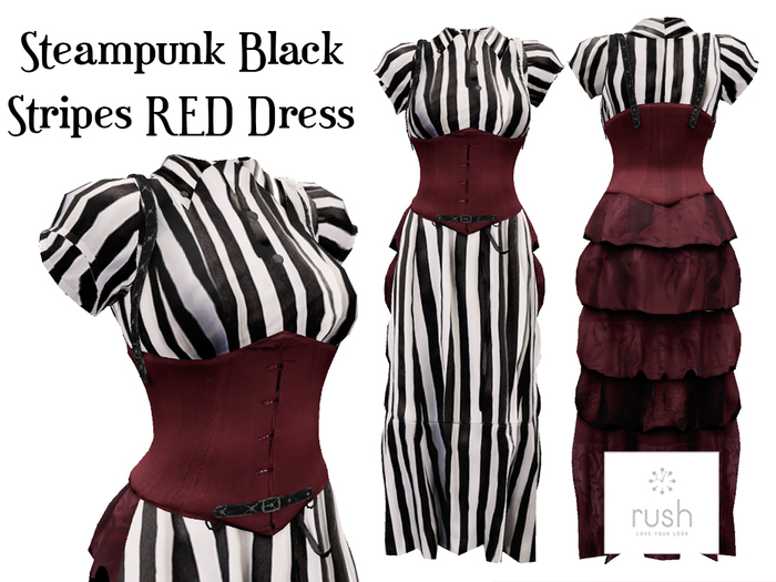 RUSH Steampunk Black Stripes RED Dress Pack