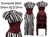 Rush steampunk black stripes red dress dis