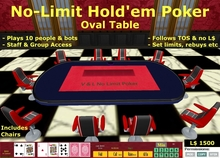 V&L No-Limit Oval Poker Table with Bots & Chairs