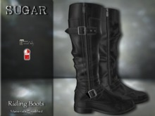 :-:SUGAR:-: Riding Boots {BLACK LEATHER}