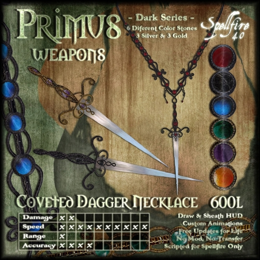)<SF>(  Primus Coveted Dagger Necklace 4.0 (dark)