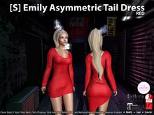 [S] Emily Asymmetric Tail Dress Red